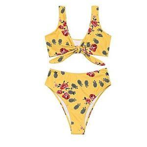 Zaful Printed Knotted High Cut Bikini Mustard